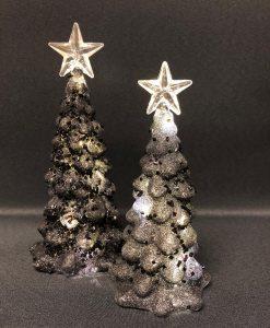 Set Zwarte glaskerstboompjes met verlichting